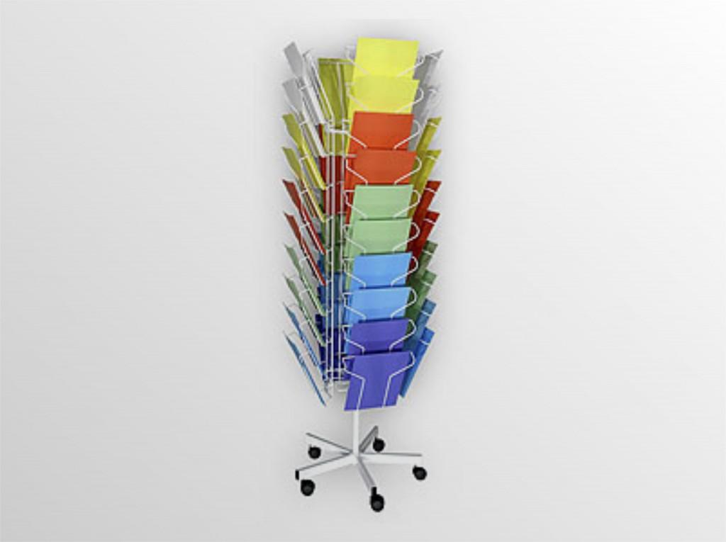10xA4K otočný stojan na kolieskach - na propagačné materiály - s brzdovým systémom - formát A4 - 10 zásobníkov, 4 stĺpce - zásobník na 260 listov