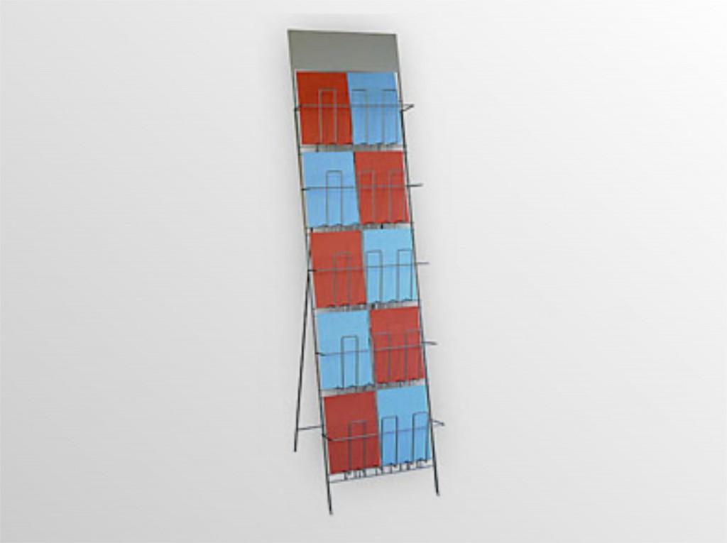 2x5SS -drôtený stojan s opornou podperou -stojan na zem na dennú tlač s logo tabuľou -5 zásobníkov nad sebou