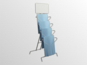 4xA4SS -drôtený stojan s opornou podperou -stojan na stôl s oporou s logo tabuľou -formát A4 -4 zásobníky na 260 listov