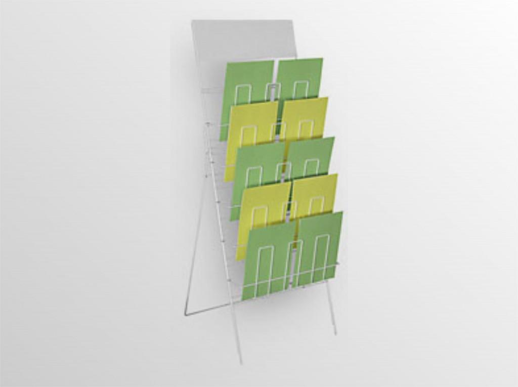 10x5NSS -drôtený stojan s opornou podperou -stojan na zem na dennú tlač s logo tabuľou -formát A4 -10 zásobníkov