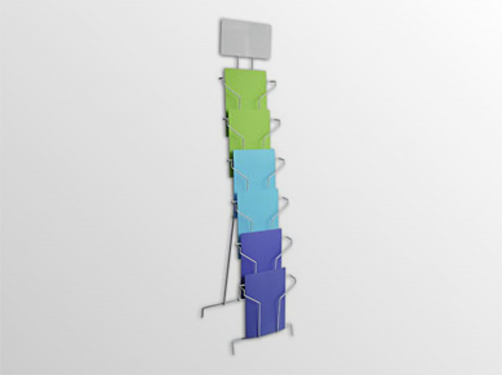 6xA4SS -drôtený stojan s opornou podperou -stojan na zem s oporou s logo tabuľou -formát A4 -6 zásobníkov na 260 listov