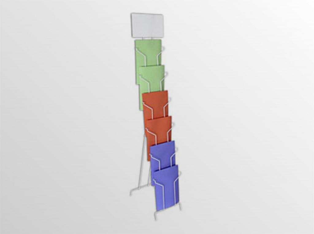 6xA4TSS -drôtený stojan s opornou podperou -stojan s oporou na zem s logo tabuľou -formát A4 -6 zásobníkov