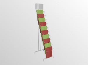 10xA4SS -drôtený stojan s opornou podperou -stojan na zem s oporou a logo tabuľou -formát A4 -10 zásobníkov na 240 listov