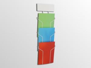 3xA4NS -stojan na stenu s logo tabuľou -formát A4 -3 zásobníky