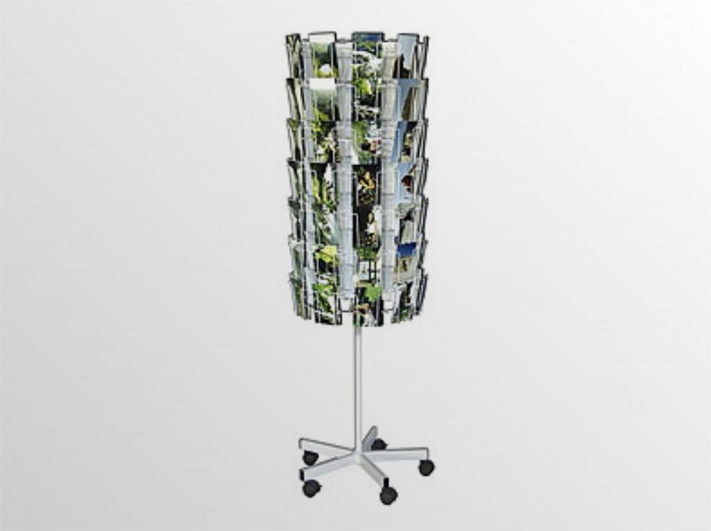 POHĽADNICOVÝ otočný stojan na kolieskach - na pohľadnice - s brzdovým systémom - formát A6 - 70 zásobníkov - 10 stĺpcov