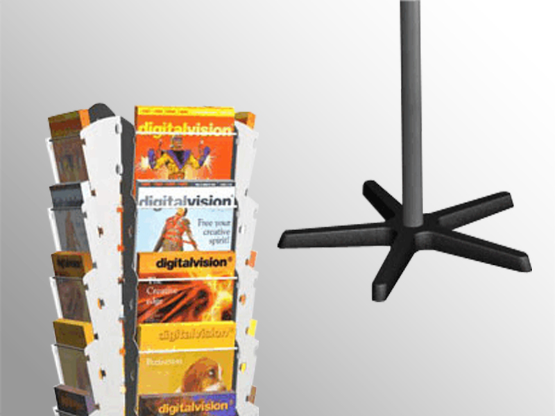 Stĺpový otočný stojan pre tlač formátu A4. Kombinácia kovovej konštrukcie a plexisklových káps dodáva stojanu potrebnú pevnosť, eleganciu a moderný dizajn. • Zasobníky: 4 x 5 A4 • Hmotnosť: 14,5 kg • Rozmer: 1740, r=550 mm • bočné steny z polypropylénu • čelná stena z číreho axpetu • pre max. 1 kg tlačovín v jednom zásobníku