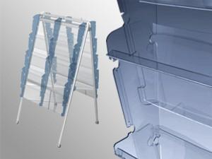 Áčkový stojan pre tlač formátu A4. Kombinácia kovovej konštrukcie a plastových káps dodáva stojanu potrebnú pevnosť, eleganciu a moderný dizajn. Jednostranný • zásobník 2 x 5, 10 káps A4 • rozmer: 1190 x 500 x 570 mm • hmotnosť: 8,2 kg • kovový rám z oceľových trubiek - striebornošedá farba • bočné steny z polypropylénu • čelná stena z číreho axpetu • pre max. 1 kg tlačovín v jednom zásobníku Obojstranný • zásobník 2 x ( 2 x 5), 20 káps A4 • rozmer: 1190 x 500 x 570 mm • hmotnosť: 9,8 kg • kovový rám z oceľových trubiek - striebornošedá farba • bočné steny z polypropylénu • čelná stena z číreho axpetu • pre max. 1 kg tlačovín v jednom zásobníku